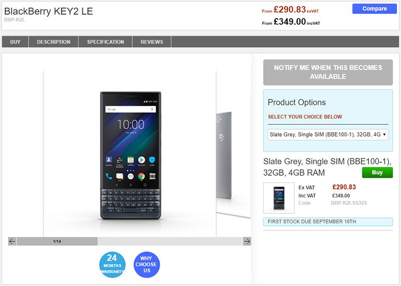 Clove BlackBerry KEY2 LE 商品ページ