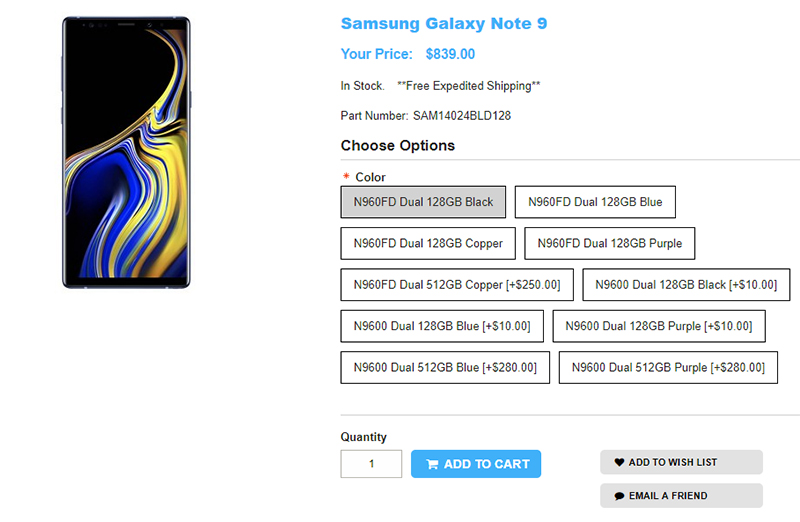 1ShopMobile.com Samsung Galaxy Note9 商品ページ