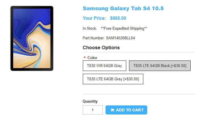 1ShopMobile.com Samsung Galaxy Tab S4 商品ページ