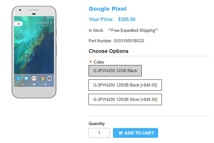 1ShopMobile.com Google Pixel 商品ページ