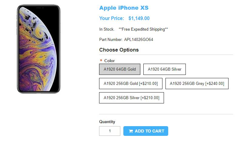 1ShopMobile.com Apple iPhone XS 商品ページ