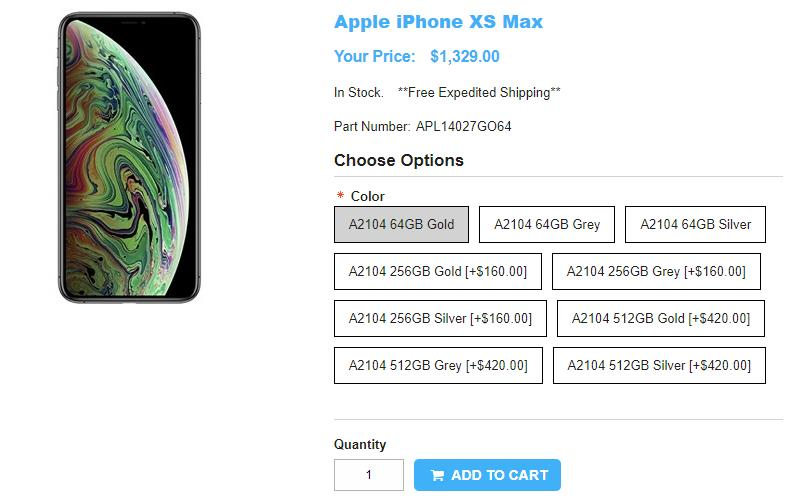 1ShopMobile.com Apple iPhone XS Max 商品ページ