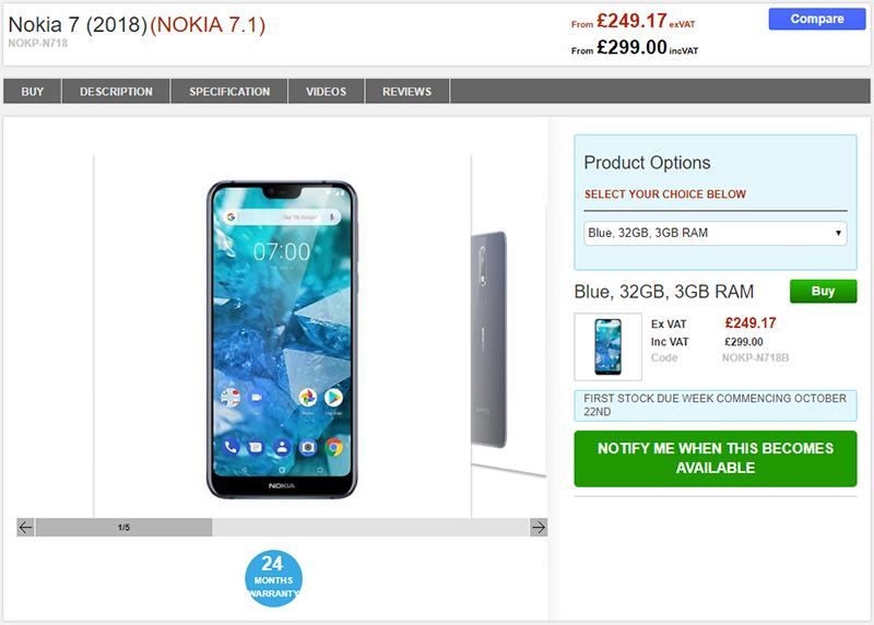Clove Nokia 7.1 商品ページ