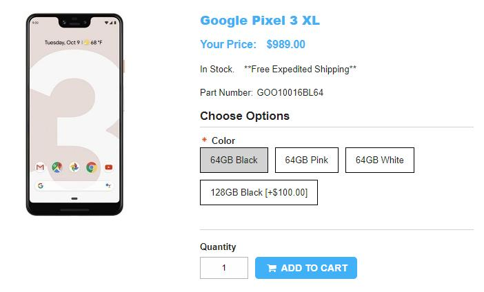 1ShopMobile.com Google Pixel 3 XL 商品ページ