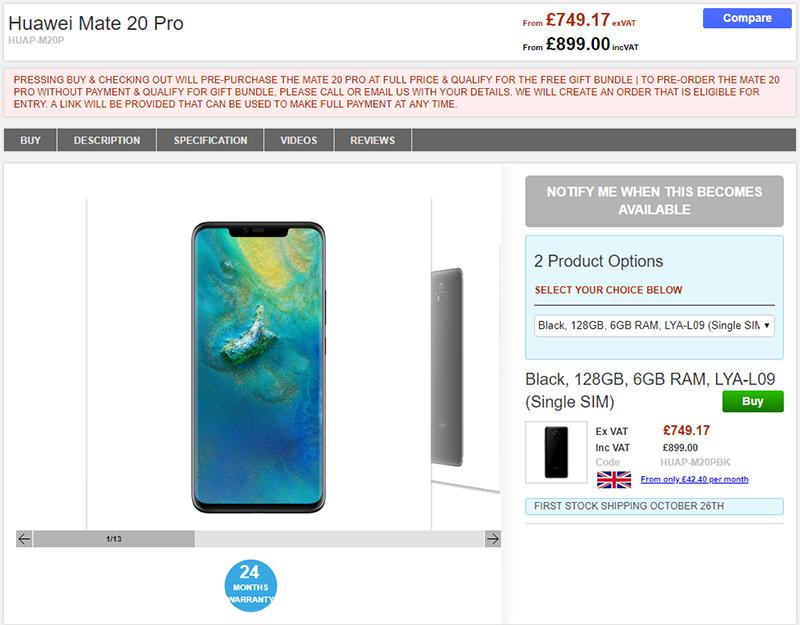 Clove Huawei Mate 20 Pro 商品ページ