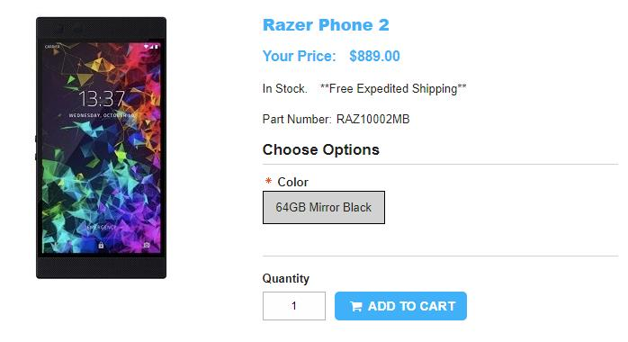 1ShopMobile.com Razer Phone 2 商品ページ