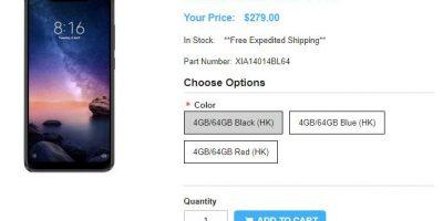 1ShopMobile.com Xiaomi Redmi Note 6 Pro 商品ページ