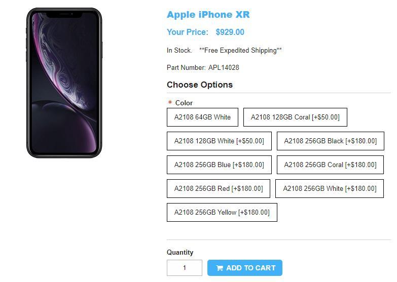1ShopMobile.com Apple iPhone XR 商品ページ