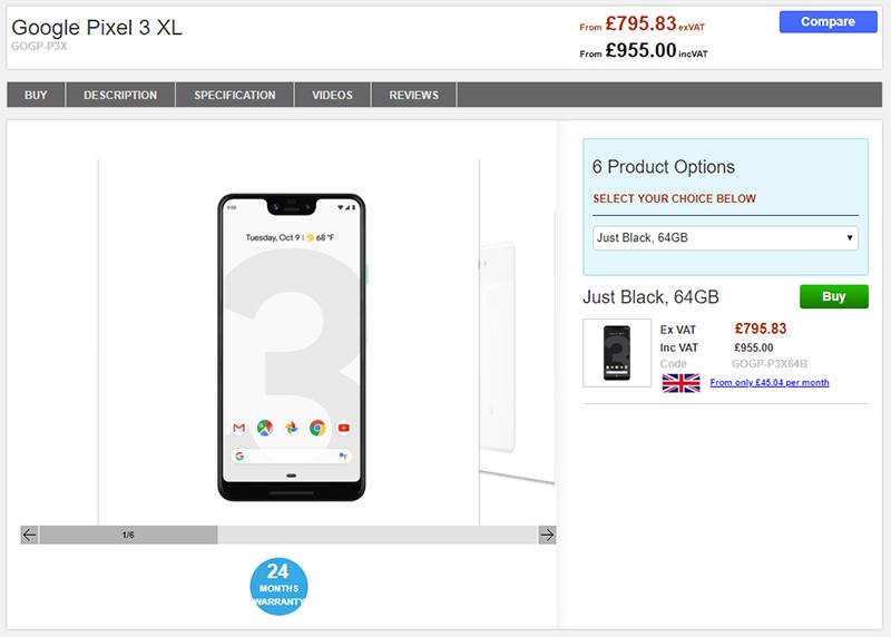 Clove Google Pixel 3 XL 商品ページ