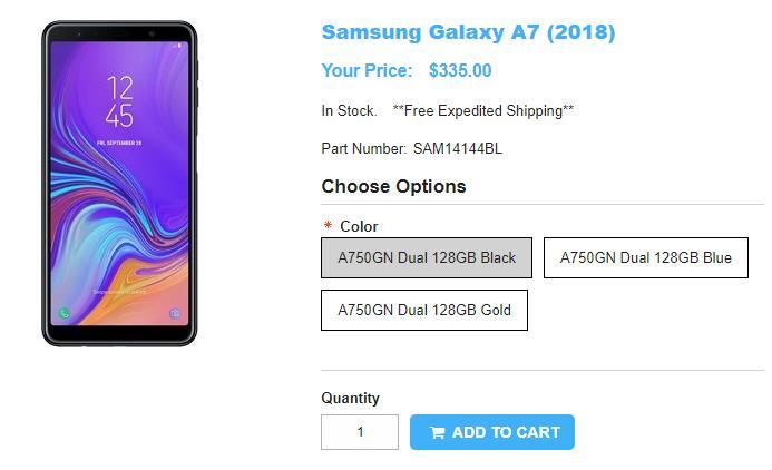 1ShopMobile.com Samsung Galaxyy A7(2018) 商品ページ
