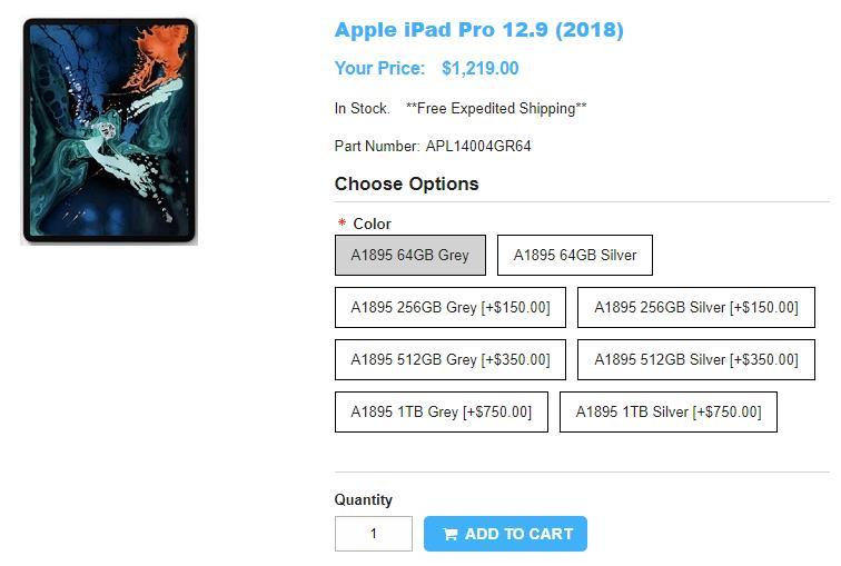 1ShopMobile.com Apple iPad Pro 12.9-inch 商品ページ
