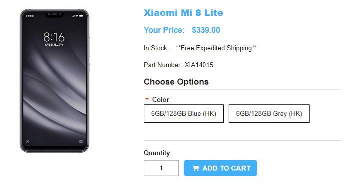 1ShopMobile.com Xiaomi Mi 8 Youth Edition 商品ページ
