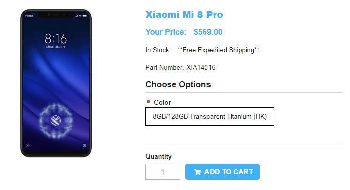 1ShopMobile.com Xiaomi Mi 8 Pro 商品ページ