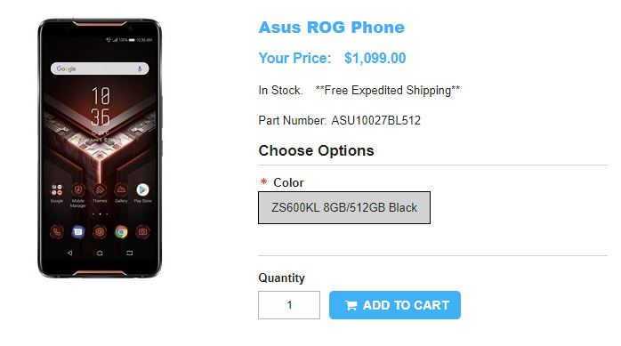 1ShopMobile.com ASUS ROG Phone 商品ページ