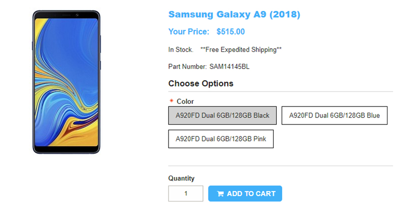 1ShopMobile.com Samsung Galaxy A9(2018) 商品ページ