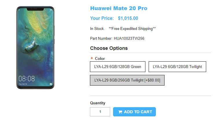 1ShopMobile.com Huawei Mate 20 Pro 商品ページ