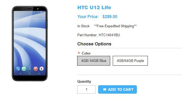 1ShopMobile.com HTC U12 life 商品ページ
