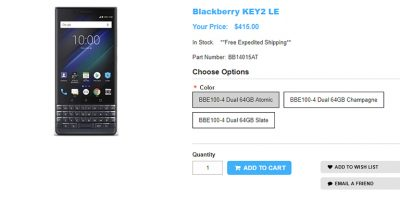 1ShopMobile.com BlackBerry KEY2 LE 商品ページ
