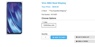 1ShopMobile.com Vivo NEX Dual Display Edition 商品ページ