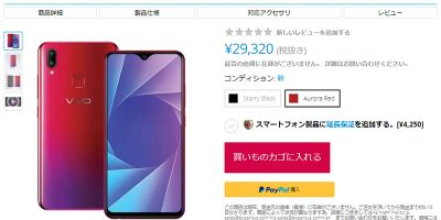 EXPANSYS Vivo Y95 商品ページ