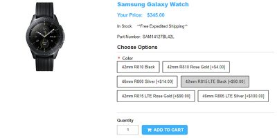 1ShopMobile.com Samsung Galaxy Watch 商品ページ