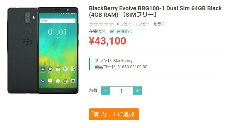 ETOREN BlackBerry Evolve 商品ページ
