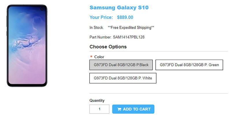 1ShopMobile.com Samsung Galaxy S10 商品ページ