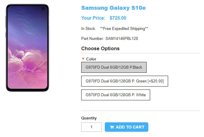 1ShopMobile.com Samsung Galaxy S10e 商品ページ