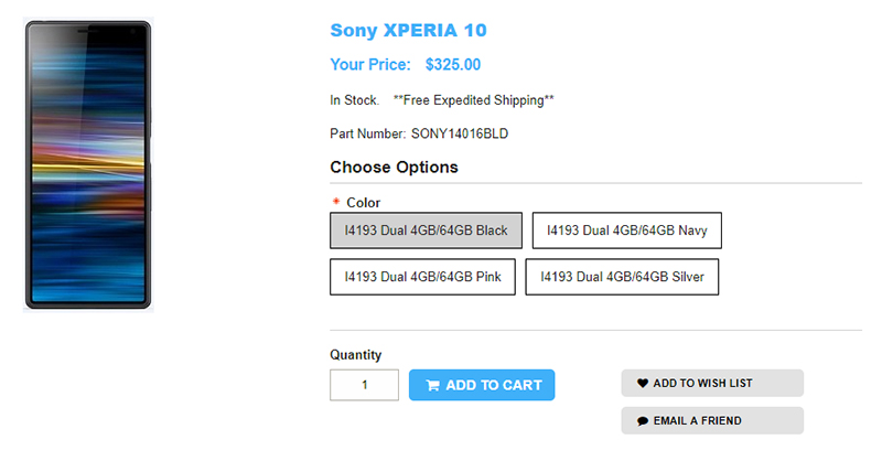 1ShopMobile.com Sony Xperia 10 商品ページ