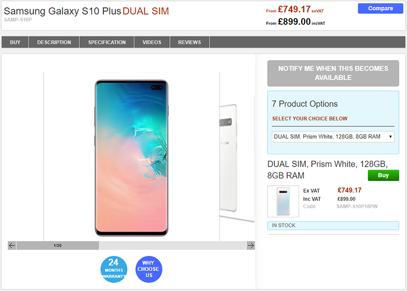 Clove Samsung Galaxy S10+ 商品ページ
