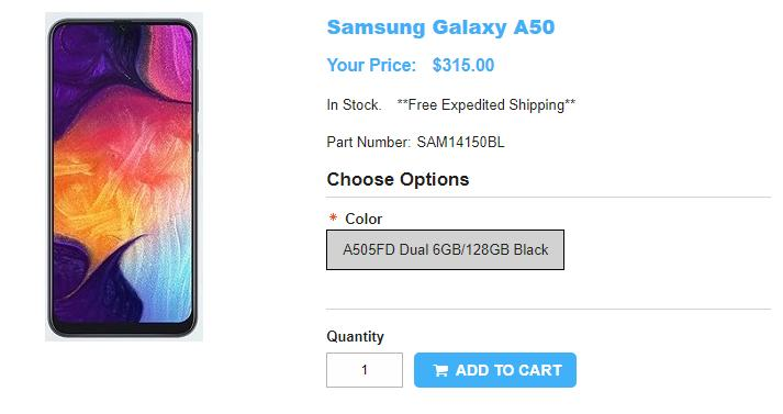 1ShopMobile.com Samsung Galaxy A50 商品ページ