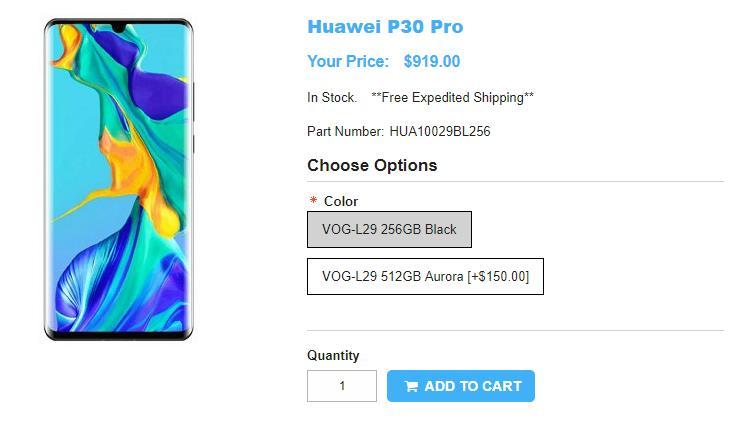 1ShopMobile.com Huawei P30 Pro 商品ページ