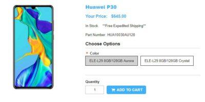 1ShopMobile.com Huawei P30 商品ページ