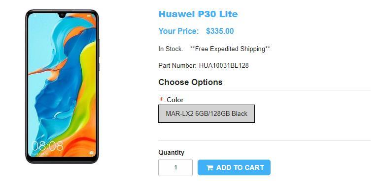 1ShopMobile.com Huawei P30 lite 商品ページ