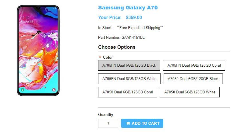 1ShopMobile.com Samsung Galaxy A70 商品ページ