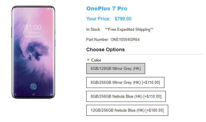 1ShopMobile.com OnePlus 7 Pro 商品ページ