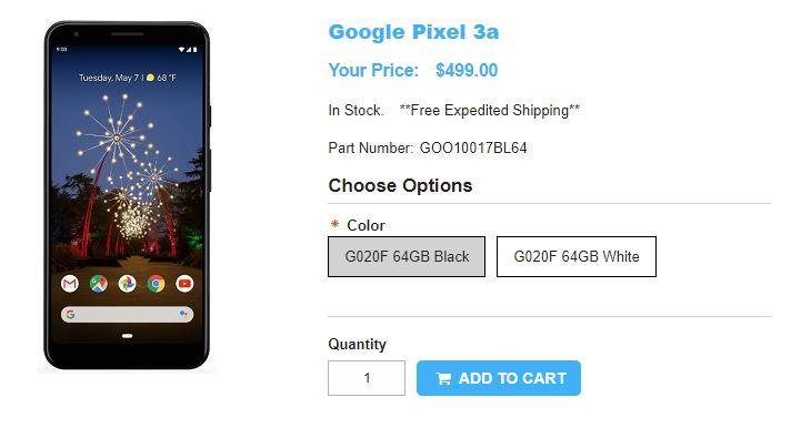 1ShopMobile.com Google Pixel 3a 商品ページ