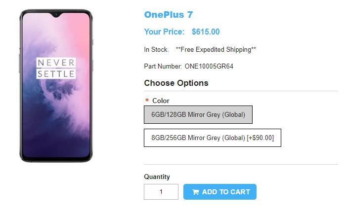 1ShopMobile.com OnePlus 7 商品ページ