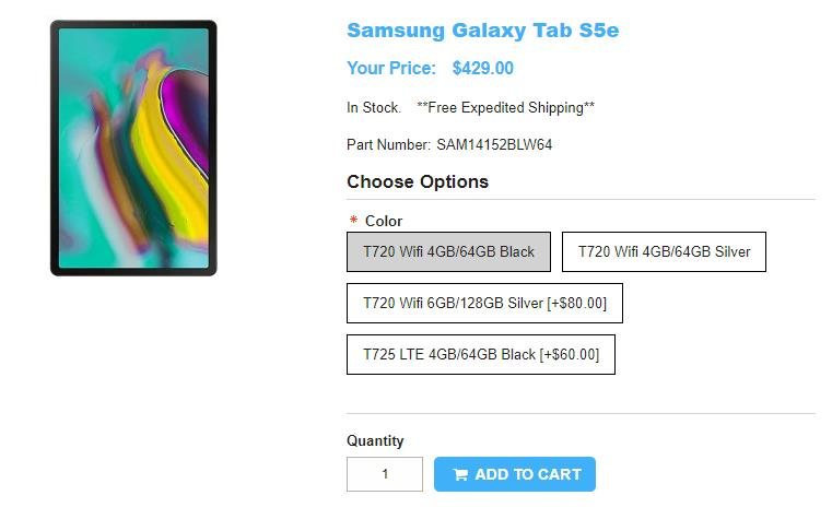 1ShopMobile.com Samsung Galaxy Tab S5e 商品ページ