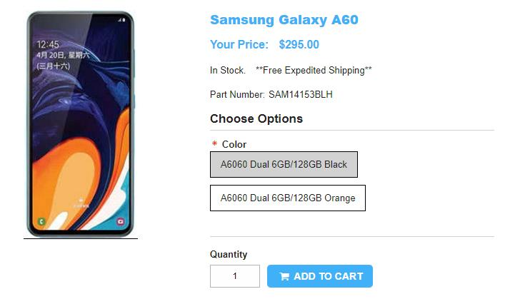1ShopMobile.com Samsung Galaxy A60 商品ページ