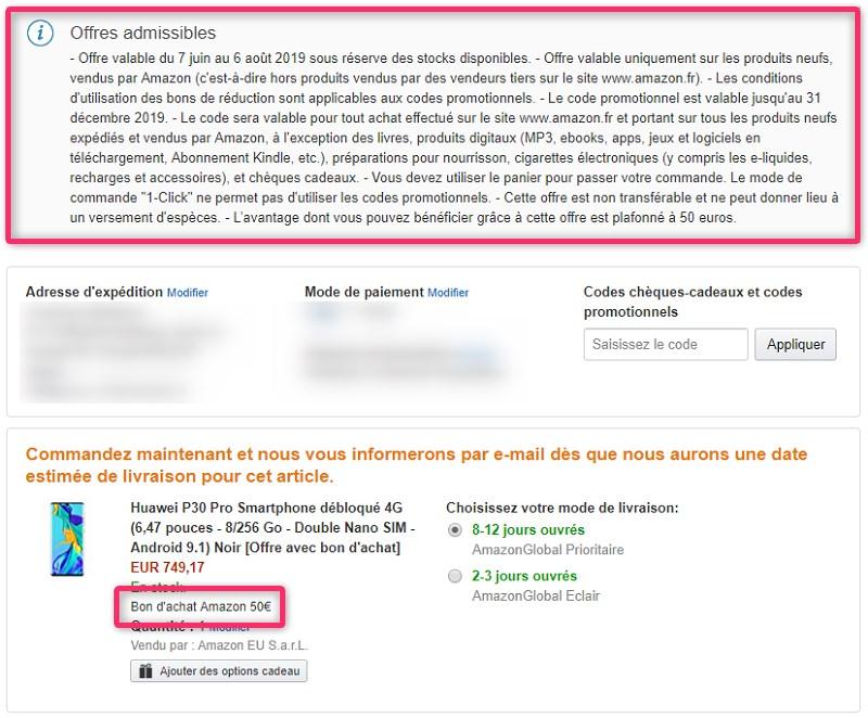 Amazon.frでの注文内容の確認画面(Huawei P30 Pro)