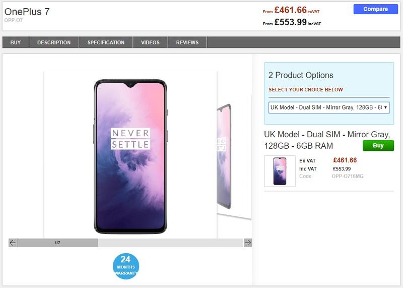 Clove OnePlus 7 商品ページ