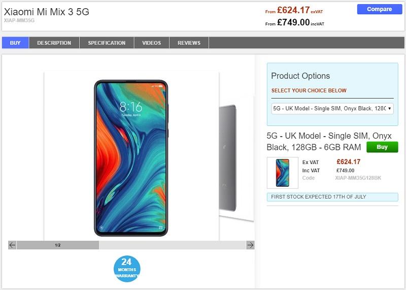 Clove Xiaomi Mi MIX 3 5G 商品ページ