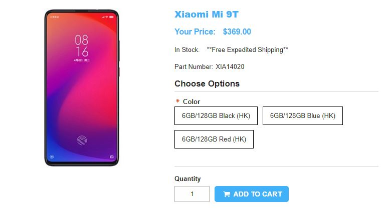 1ShopMobile.com Xiaomi Mi 9T 商品ページ