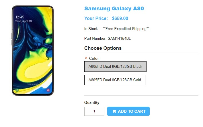 1ShopMobile.com Samsung Galaxy A80 商品ページ