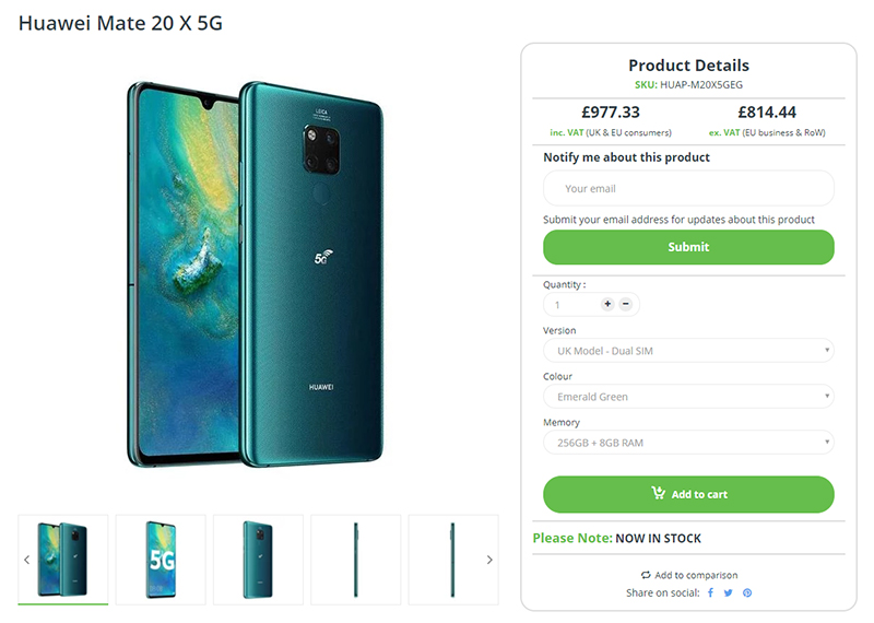 Clove Huawei Mate 20 X (5G) 商品ページ