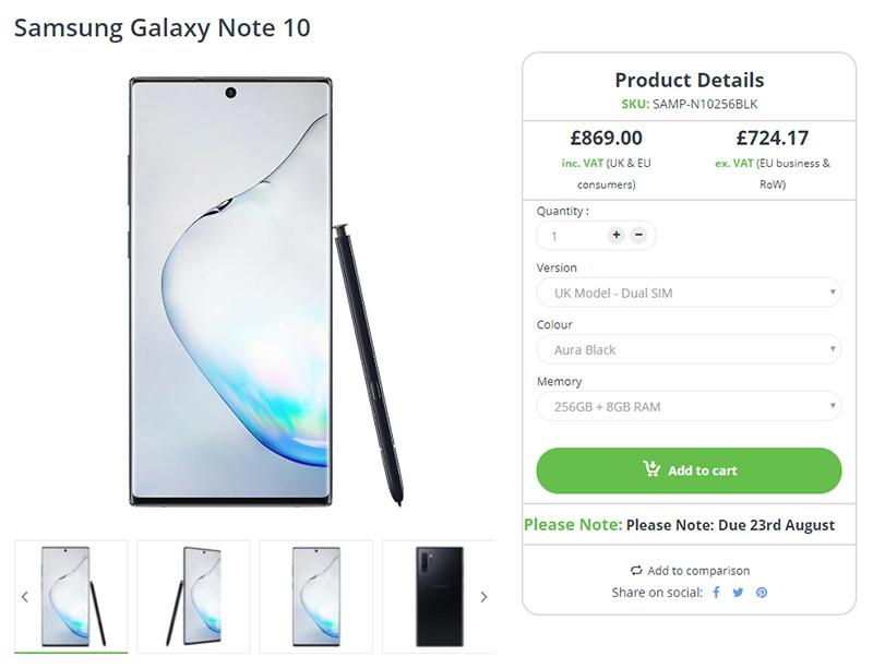 Clove Samsung Galaxy Note10 商品ページ