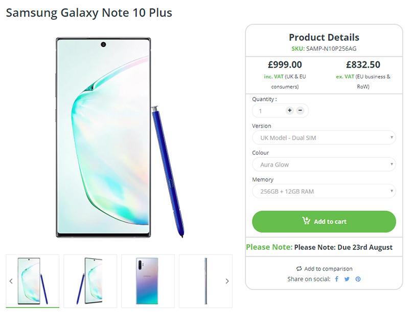 Clove Samsung Galaxy Note10+ 商品ページ