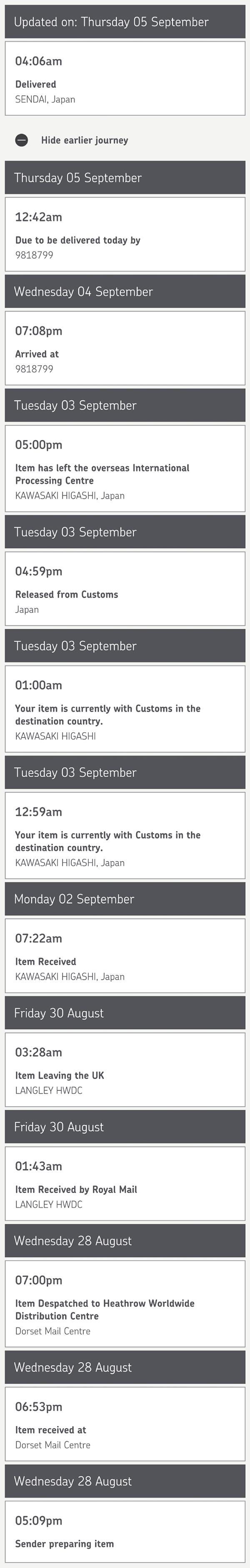 荷物の追跡情報