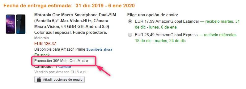 Amazon.esのプロモーション適用表示